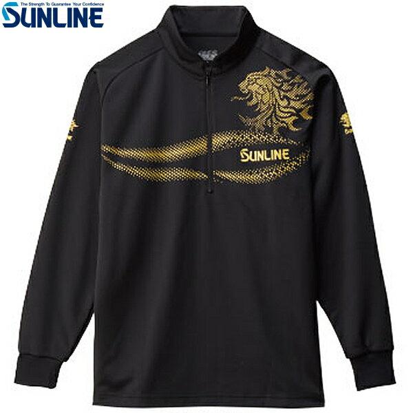 サンライン ジップアップシャツ ブラック SUW-5569HT 3L〜4L(フィッシングシャツ 防寒)
