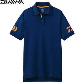 ダイワ 半袖ポロシャツ ネイビー×チェリートマト DE-7906 (フィッシングシャツ ジュニアサイズ)