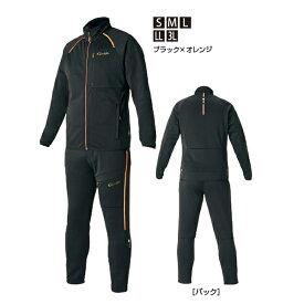 がまかつ ジャージスーツ ブラック×オレンジ GM-3624 (フィッシングウェア 上下セット)