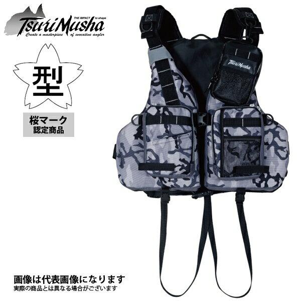 TY-26RS Tsuri Musha 石鯛ベスト 迷彩 釣武者 国土交通省型式承認品 桜マーク フローティングベスト