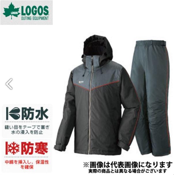 ◆防水防寒スーツ オーウェン L ブラック ロゴス アウトドア 防寒着 防寒ウェア