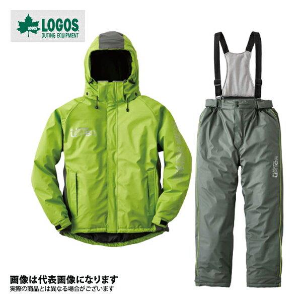 30615361 油に強い防水防寒スーツ サーレ LL グリーン ロゴス アウトドア 防寒着 上下セット 防寒