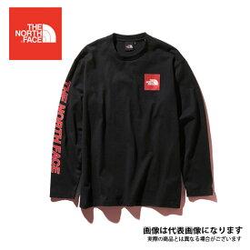 ロングスリーブスクエアロゴスリーブティー(メンズ) ブラック XXL NT31951 ノースフェイス 長袖 Tシャツ