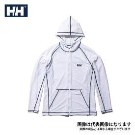 【在庫処分特価】 ロングスリーブフルジップフーディーラッシュガード(メンズ) ホワイト M HE81927 ヘリーハンセン 日焼け防止 暑さ対策アイテム