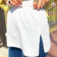 レイヤードつけ裾スリットレイヤードTシャツ