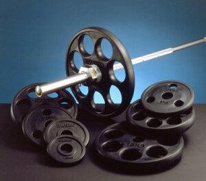 【Φ50mmバーベルプレート】IVANKO(イヴァンコ)オリンピックラバーイージーグリッププレート 5kg(使いやすいグリップホール付)ROEZH-5