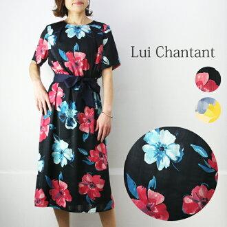 Hand-washing possible big flower print dress short sleeves Lady's fashion dress