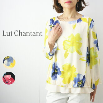 Hand-washing possible big flower print blouse long sleeves Lady's fashion blouse