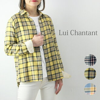 Hand-washing possible cotton linen check blouse long sleeves Lady's fashion blouse