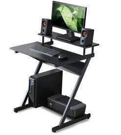 【送料無料】FITUEYES パソコンデスク ゲーミングデスク pcデスク パソコン机 ラック付き モニターアーム取付対応 ゲーミングデスク 幅70cm 机 組立簡単 スリム 木製 ブラック CD307001WB