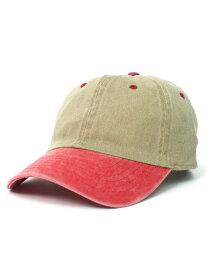 NEW HATTAN 6PNL PIGMENT DYE 2T WASH CAP-KHK/RED【NH-1201KHRD-KHAKI】
