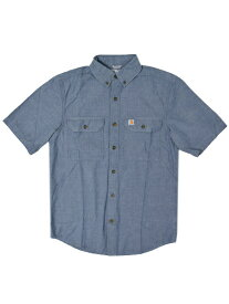 CARHARTT FORT S/S CHAMBRAY SHIRT-DENIM BLUE CHAMBRAY【S200-499-BLUE】