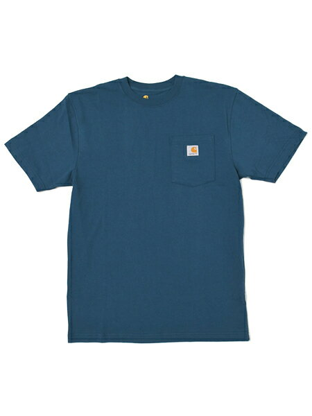 CARHARTT POCKET S/S TEE-STREAM BLUE【K87-984-DARK BLUE】