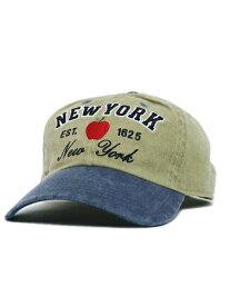 NEW HATTAN NY APPLE PIGMENT DYE 2T WASH CAP-KHK/BLU【NH-NY20-1201KB-KHAKI】