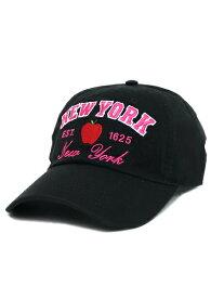 NEW HATTAN NY APPLE 6PNL COTTON CAP-BLACK/HOT PINK【NH-NY20-1400BH-BLACK】