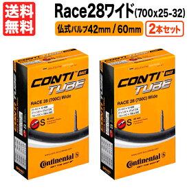 あす楽 送料無料 2本セット Race28 Wide 700x25c〜32cまで対応 仏式 バルブ長42mm/60mm 返品保証 Continental コンチネンタル レース28 ワイド (700C) 自転車 チューブ ロードバイク