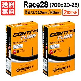 あす楽 送料無料 2本セット Race28 700x20c〜25c対応 仏式 バルブ長42mm/60mm 返品保証 Continental コンチネンタル レース28(700C) 自転車 チューブ 23c ロードバイク