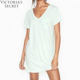 VICTORIA'S SECRET ヴィクトリアシークレット ピマコットンVネックスリープシャツ Tシャツワンピ ペールアイスV Lightweight Pima Cotton V neck Sleepshirt Pale Ice V