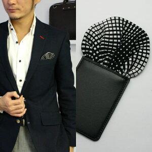 フィックスポンパッフド1【モノクロモザイク】fixponポケットチーフ