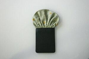 フィックスポンパッフド1【淡いグリーン・黄緑】【月とすすき柄】fixponポケットチーフ