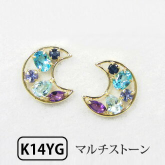 K14YG Blue Topaz x Sapphire x tanzanite x Amethyst multi-stone Crescent earrings 10P04Jul15 ▼