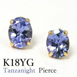 AAA class tanzanite pierced earrings K18YG yellow gold Oval▼