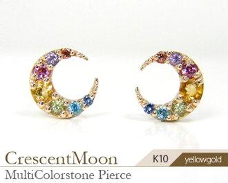 K10YG multi-stone crescent moon motif pierced earrings fs3gm▼