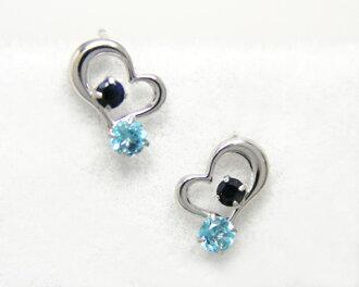 K10WG Blue Topaz x Sapphire open heart earrings ▼
