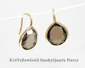 K10YG10x8mm shizuku smoky quartz hook earring Gypsy earrings ▼