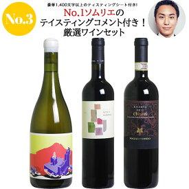 <第3弾> No.1ソムリエのテイスティングコメント付き!厳選ワイン3本セット(赤2、白1)