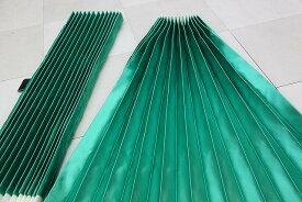 トラック用プリーツサテンサイドカーテン|一重|グリーン|安心の日本製|巾100x丈80cm2枚入り|フック16ケ入り|ベット後ろにも使えます|