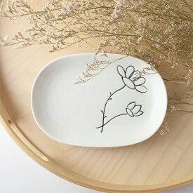 フラワー 18.7x13cm 楕円 取り皿 [日本製/美濃焼/洋食器] 生活雑貨 キッチン 食器 皿 小皿 花柄 かわいい 日本 器 美濃焼 東海焼 TOKAI-YAKI 東海焼き 現代風アレンジ お皿