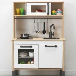 IKEA イケア ドゥクティグ ミニキッチン おままごと ままごと キッチン 高さ 調整 ロールプレイ 台所 バーチ材合板 ホワイト お片付け キッズ こども 好奇心 知育玩具 おもちゃ 木製 お店