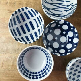 藍ブルー 16cm ボウル クロス ラウンド リピート ドット ウッド [ 日本製 / 美濃焼 / 洋食器 ] ご飯 茶碗 東海焼 TOKAI-YAKI 東海焼き 現代風アレンジ お皿 皿 うどんや丼もの料理にピッタリなサイズのボウルです。