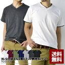 送料無料 Vネック 半袖 Tシャツ メンズ フェイクレイヤード 無地Tシャツ ダブルネック【E1P】【パケ1】