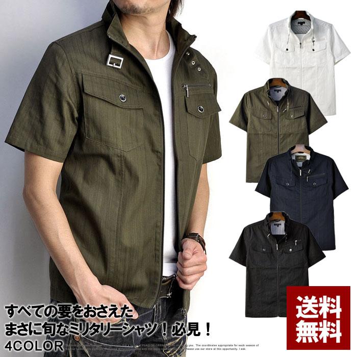 ミリタリーシャツ メンズ 半袖 シャツ 立襟 スタンドカラー シャツジャケット【C5B】【パケ2】