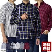 シャツメンズボタンダウンシャツ長袖チェックストライプシャツトップスイージーケア簡単アイロン【A3H】