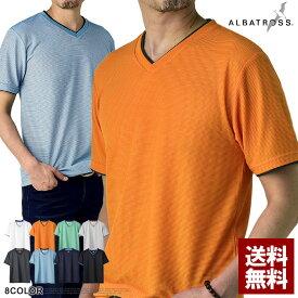 ALBATROSS アルバトロス 新作 Tシャツ メンズ Vネック 半袖 吸汗速乾 ワッフル カットソー トップス【A3O】【パケ2】