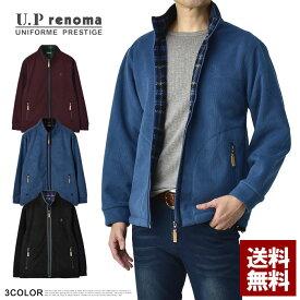 レノマ U.Prenoma フリースジャケット メンズ コーデュロイ ブルゾン 裏起毛 アウター チェック柄裏地 正規品【B5Y】