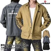 AIRWALKエアウォークジャケットメンズオーバーシャツゆったりサイズカバーオールバックプリントコーチジャケット【A3C】