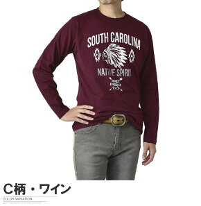 長袖TシャツメンズロンTeeトップスクルーネックカットソーアメカジネイティブプリント綿Tシャツ【D1M】