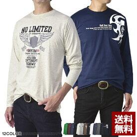 長袖Tシャツ メンズ ロンTee トップス クルーネック バイカープリント カットソー 大きいサイズ【D2I】【パケ2】