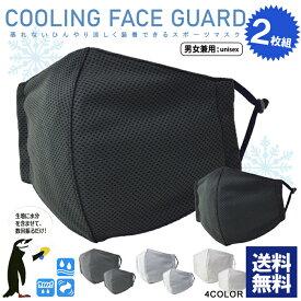 冷感 メッシュマスク 2枚組 ユニセックス男女兼用 フェイスガード 夏用 クーリングマスク 洗える サイズ調節可【Z6A】【パケ3】
