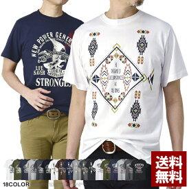 綿コーマ糸 Tシャツ メンズ 半袖 カットソー トップス ネイティブ メキシカン バイカー プリントt【D2O】【パケ2】