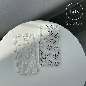 【Lily】クリア 花柄 フラワー iPhone12 ケース iPhone12 pro ケース iPhone12 mini ケース AQUOS sense5 ハードケース sense4 basic ハードケース Xperia 5 ケース iPhone11 iphone se 第二世代 ケース iphoneSE2 ケース iphone8 全機種対応 ハードケース スマホケース