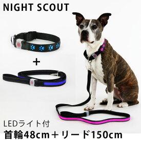 2点セット NIGHT SCOUT LED Dog Collar+LED Dog Leash LEDライト付 首輪+リード 犬用(RON)【送料無料】【ポイント2倍/在庫有】【3/17】【あす楽】