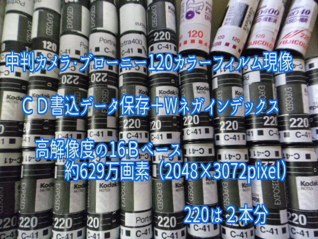 中判カメラ・ブローニー120カラーフィルム現像+CD書込(高解像度16Bでデータ保存)+Wネガインデックス フジカラー純正現像液