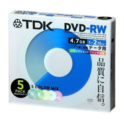 TDK データ用 DVD-RW 5枚 2倍速 インクジェットプリンタ対応 カラー DRW47PMA5S