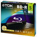 TDK データ用ブルーレイディスク BD-R 25GB 1-4倍速 5枚 5mmスリムケース ゴールドディスク BRD25B5A