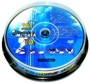 【200枚セット】MR.DATA データ用DVD-R 16倍速対応 10枚 スピンドル MR DVR47 16XPW10P_Outlet
